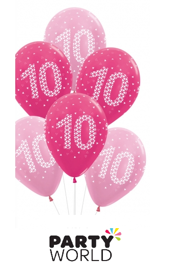 10th birthday balloons pink