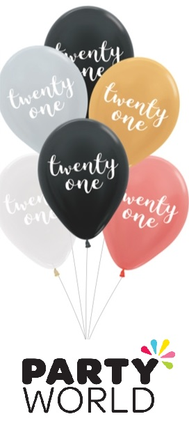 21st Birthday Assorted Latex Balloons (6)