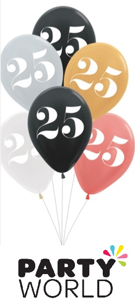 25th Birthday Assorted Latex Balloons (6)