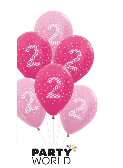 2nd birthday balloons pink