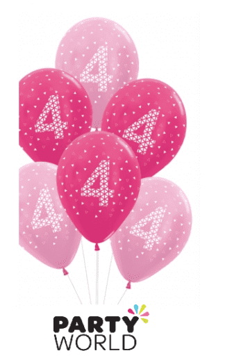 4th birthday balloons pink