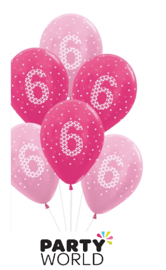 6th birthday balloons pink