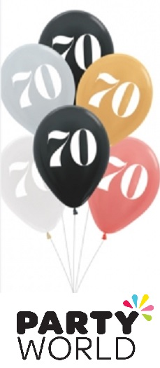 70th Birthday Assorted Latex Balloons (6)