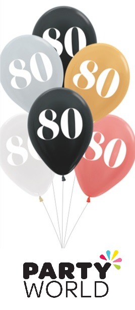 80th Birthday Assorted Latex Balloons (6)