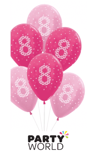 8th birthday balloons pink