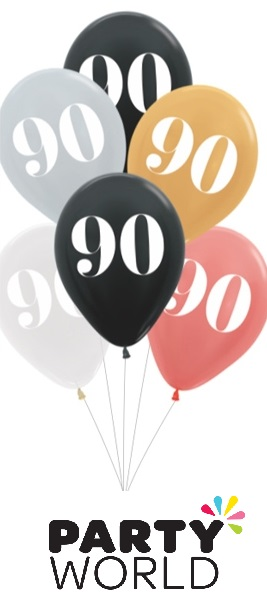 90th Birthday Assorted Latex Balloons (6)