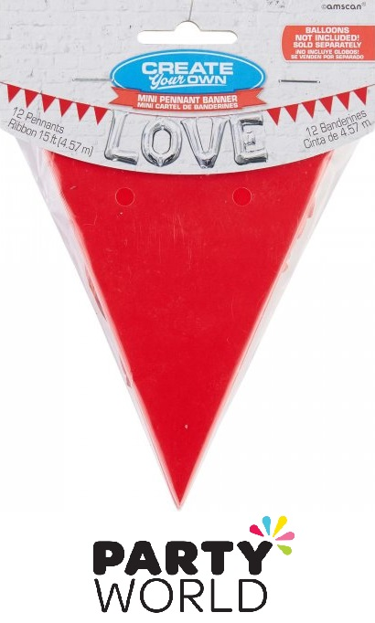 Apple Red Mini Paper Pennant Banner