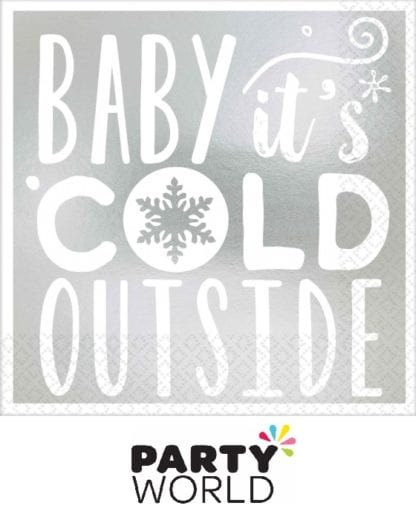 Baby It's Cold Outside Silver Beverage Napkins Foil Stamped (16)
