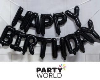 Black Happy Birthday Balloon Banner Kit