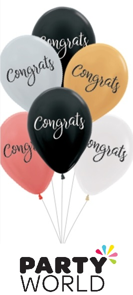 Congrats Assorted Latex Balloons (6)