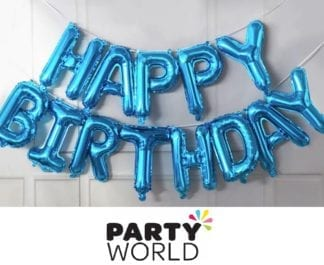 Blue Happy Birthday Balloon Banner Kit