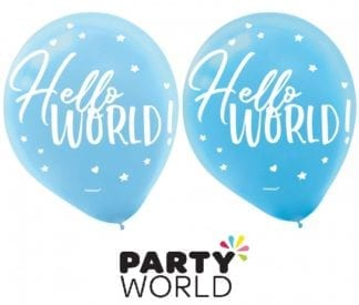 Hello World Baby Shower Blue Latex Balloons (15)