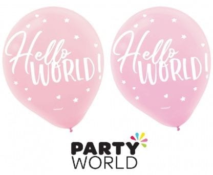 Hello World Baby Shower Pink Latex Balloons (15)
