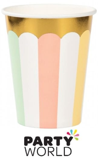 Pastel Celebrations Cups Paper & Gold Foil (8)