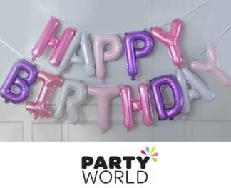 Pink And Purple Happy Birthday Balloon Banner Kit