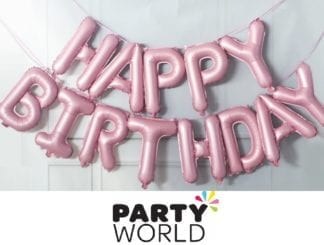 Pink Happy Birthday Balloon Banner Kit