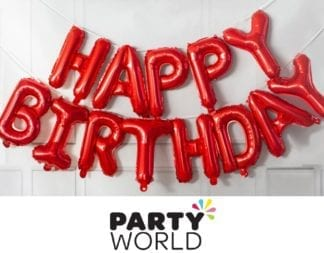 Red Happy Birthday Balloon Banner Kit