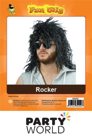 Rocker Mens Black Wig