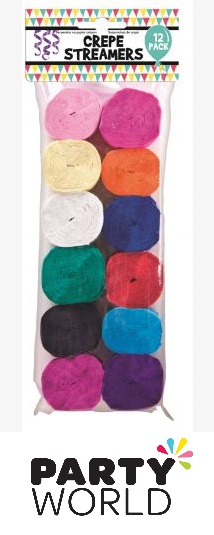 Solid Colour Assorted Crepe Streamers (12)