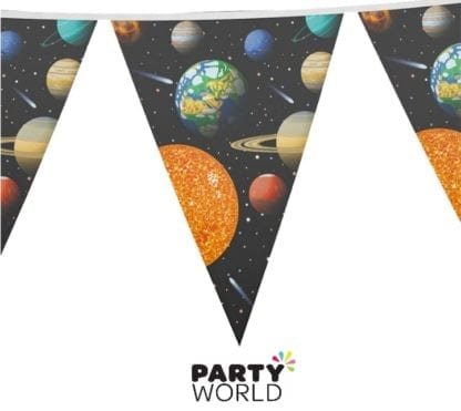 Space Party Theme Flag Banner