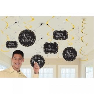 Sparkling Celebration Add Any Age Hanging Swirl Decorations