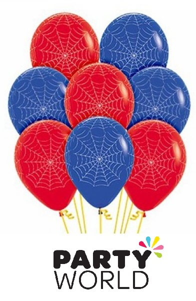 Spider Web Red And Blue Latex Balloons (12)
