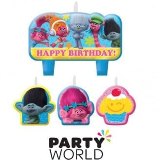 Trolls Happy Birthday Mini Moulded Candle Set (2)