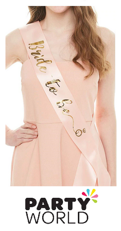 Bride To Be Sash - Foil Gold on Peach (with Ring)