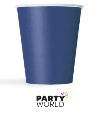 dark blue paper cups