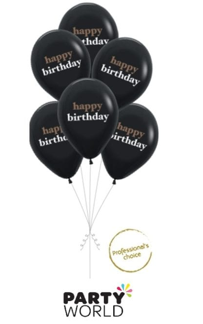 happy birthday black balloons