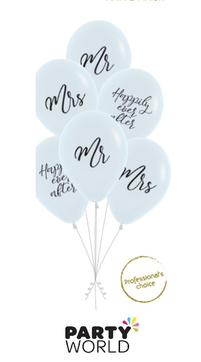 mr & mrs happily ever after latex balloons