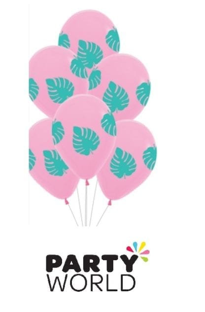 pink palm leave balloons