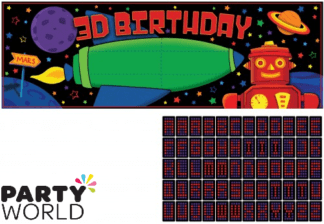 robot birthday party banner