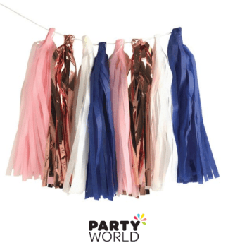 rose gold blue pink tassel garland
