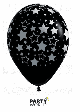 stars on black balloons