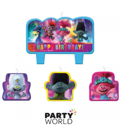 trolls party candle set