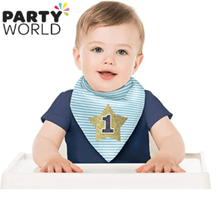 1st birthday bib blue