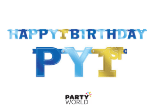 1st birthday blue & gold banner