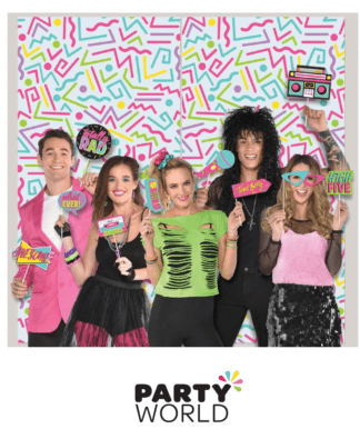 80s themed photo props & backdrop