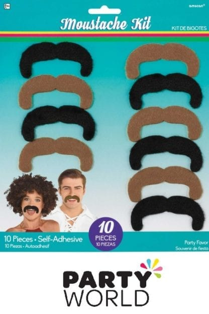 Assorted Good Vibes 70s Moustache Kit (10)