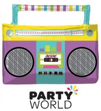 Awesome 80s Party Boom Box Shaped Foil Balloon
