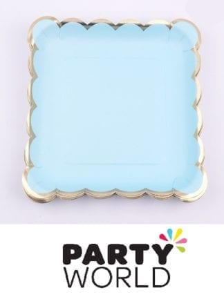 Blue And Gold Square Paper Plates (12)