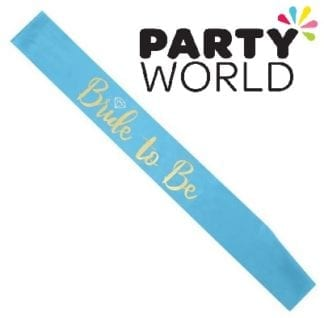 Bride To Be Satin Sash - Gold On Blue (With Ring)