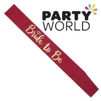 Bride To Be Satin Sash - Gold On Burgundy (with Ring)