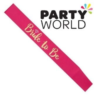 Bride To Be Satin Sash - Gold On Hot Pink (with Ring)