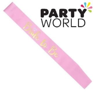 Bride To Be Satin Sash - Gold On Pink (With Ring)
