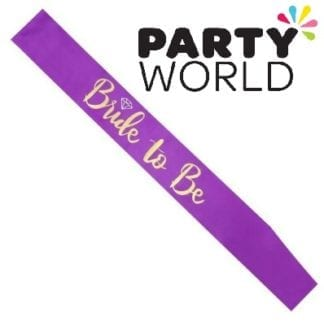 Bride To Be Satin Sash - Gold On Purple (With Ring)