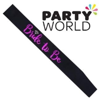 Bride To Be Satin Sash - Hot Pink On Black (With Ring)