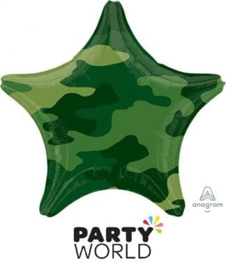 Camouflage Party Star Shaped Foil Balloon