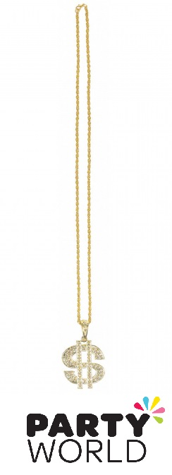 Casino Place Your Bets Gold Dollar Sign Necklace